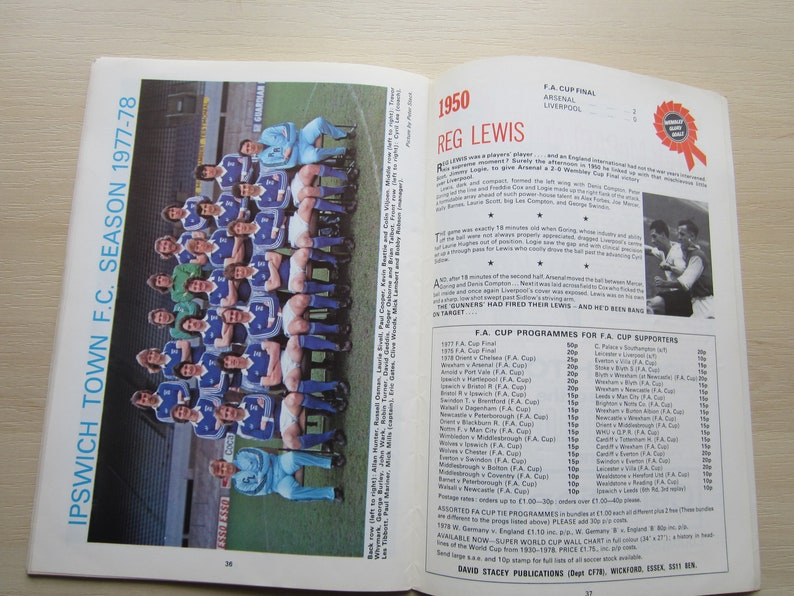 Ideal Christmas Gift 1978 Arsenal FC v Ipswich Town FC  F A Cup Final Football Programme Souvenir Birthday Present Fathers Day