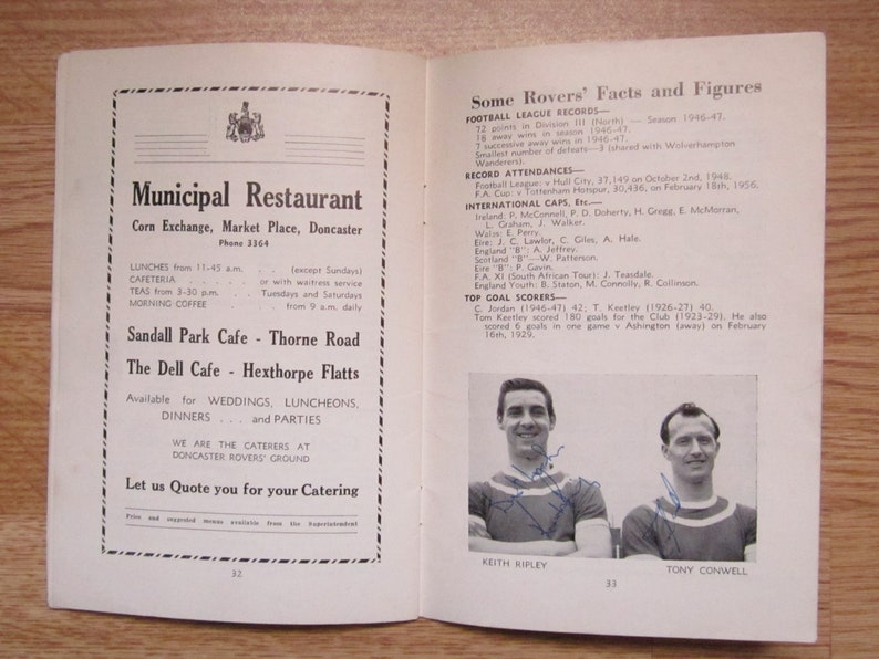 Ideal Christmas Gift Annual Birthday Present SIGNED 1963-64 Doncaster Rovers Football Club Handbook Fathers Day Yearbook