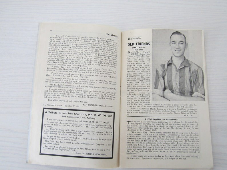 Fathers Day Magazine 1947 Crystal Palace Football Supporters Club Handbook Birthday Present Souvenir Ideal Christmas Gift
