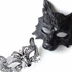 Couples Masquerade Masks Black Wolf And Fox, His & Hers Animal Masquerade Masks, Elegant Halloween Face Masks, Couples Black Animal Masks