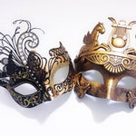 Gold Elegant Couples Masquerade Mask, Luxury Fashion Couples Collection, Gold Masquerade Masks, His and Her's Masquerade Mask Set
