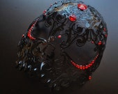 Red skull mask Halloween, mens Masquerade Mask, filigree metal mask
