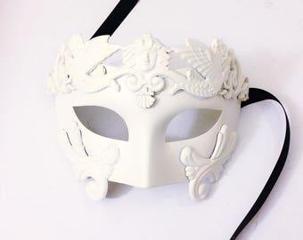 White Roman Mens Masquerade Masks, White wedding Masquerade Masks for men, White Gladiator Mens Mask