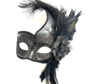 BLACK OPAQUE LACE HAND HELD MASK ON STICK PROM PARTY VENETIAN MASQUERADE