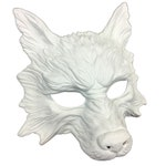 DIY wolf mask white or black primer coated mask base animal Halloween blank mask, Do It Yourself craft project masquerade mask white blank