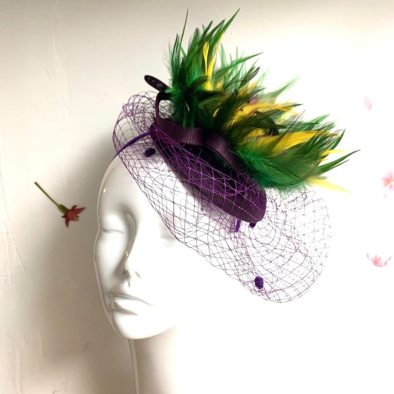 Mardi Gras Hat Mardi Gras Fascinator With Fishnet Veil image 0