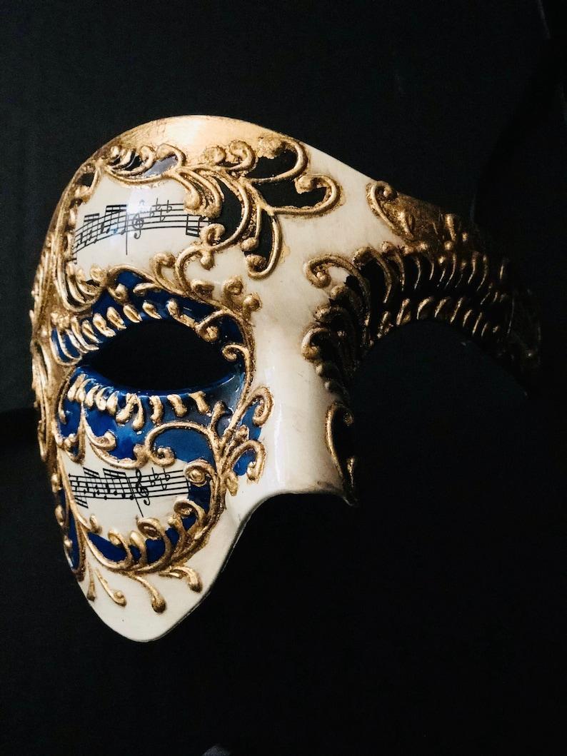 Men's Masquerade Mask Blue Phantom of the Opera Mask with image 0