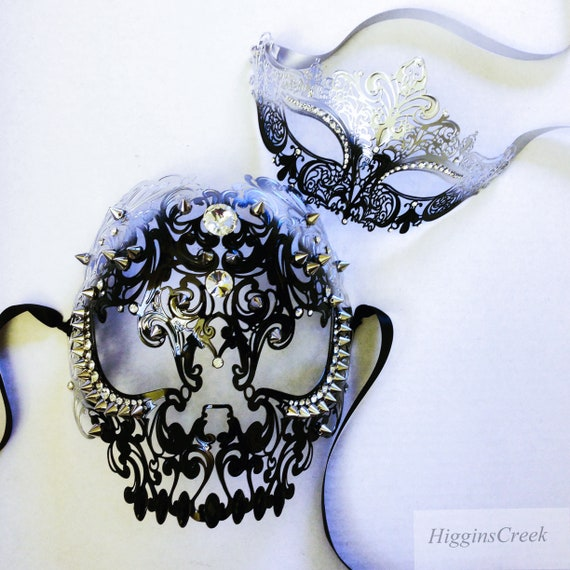 Metal masquerade masks couples venetian masks masquerade ball mask set his and her masks by HigginsCreek