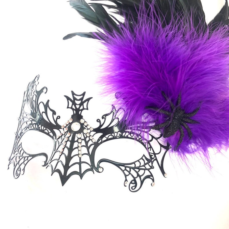 Masquerade Mask women Black widow spider masks feathers metal image 0