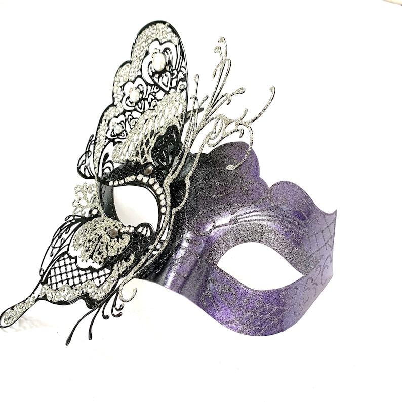 Luxury purple masquerade mask women l metal filigree mask image 0