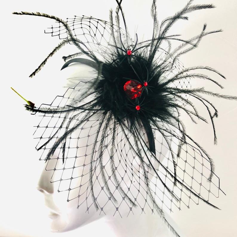Black widow Halloween headpiece Spider Web headdress halloween image 0