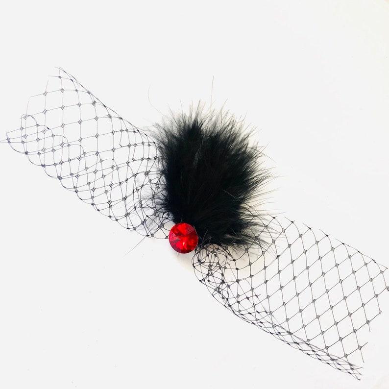 Halloween veil headpiece spider web inspired hair clip small image 0