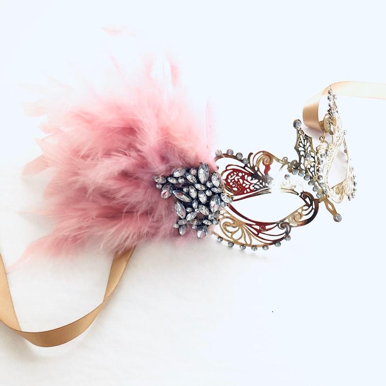 Blush pink women masquerade mask feather light pink women face image 0