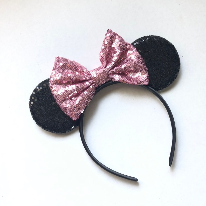 Pink mouse Ears Kids & Adults sequin Christmas mouse ear image 0
