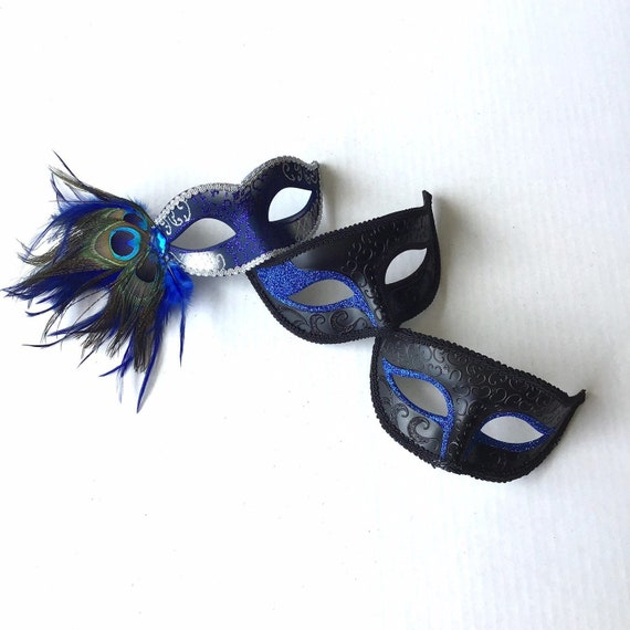 Elegant Blue Peacock Feathers Masquerade Ball Mask Mens One Eye Or Two Eye Blue Glitter Royal Blue Masquerade Ball Masks Couples