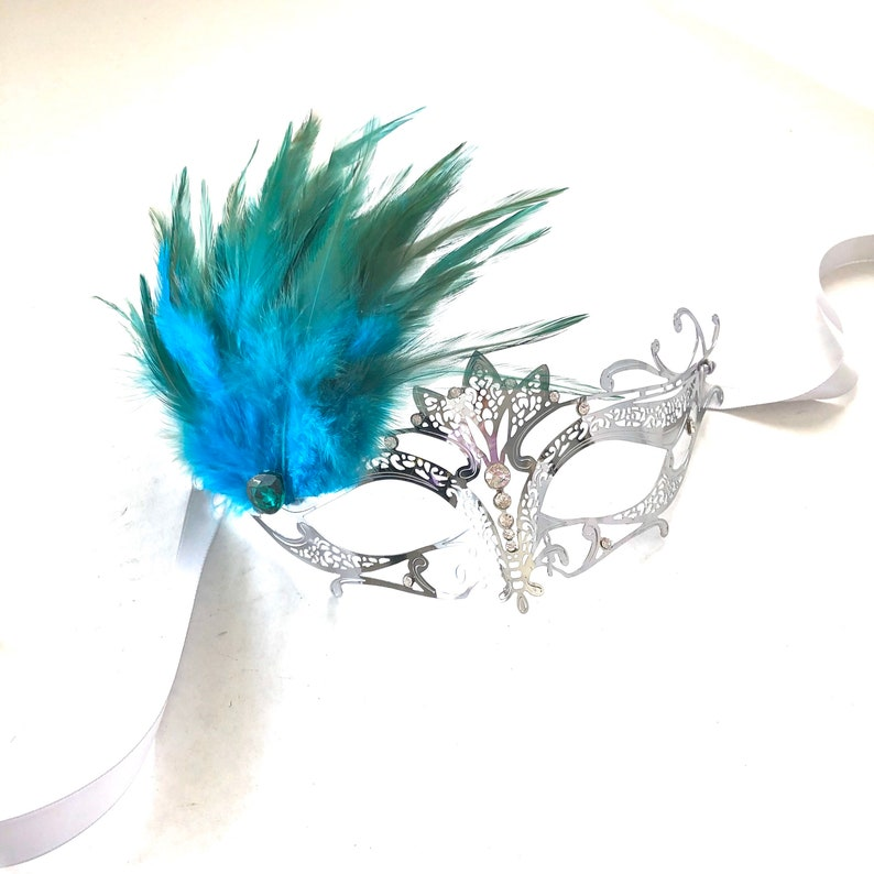 Teal Turquoise feather mask women Venetian Masquerade Ball image 0