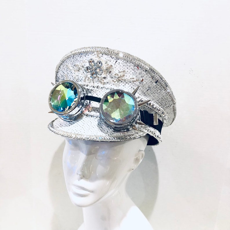 White sequin Captain Hat OPTIONAL Holographic goggles rave image 0