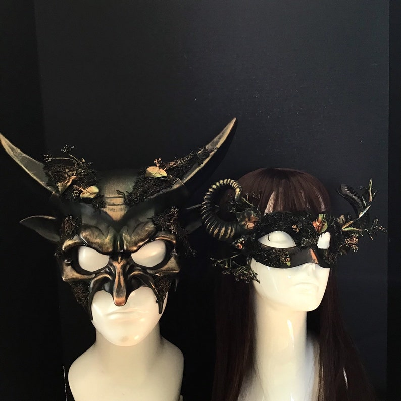 Mythical Woodland Creature Mask Set For Couples Forest Horned image 0