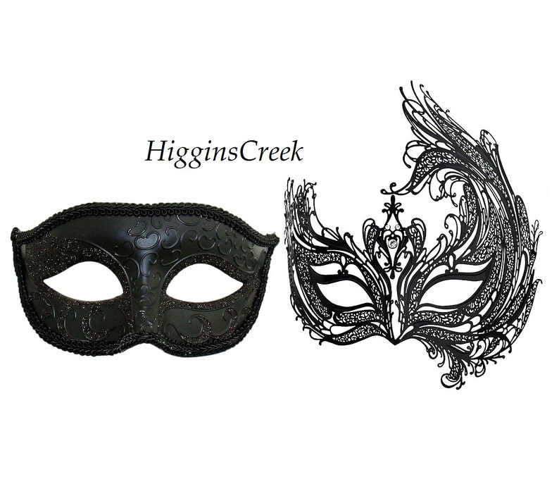 Couple Matching Masquerade Costume Ball Party Men Women Mask Set Silver Black