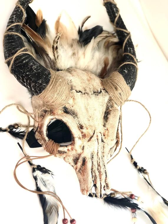 White Ram skull headdress Samhain Witch headdress Gaelic festival skull crown wicca Skull Headpiece druid headdress pagan ritual Skull