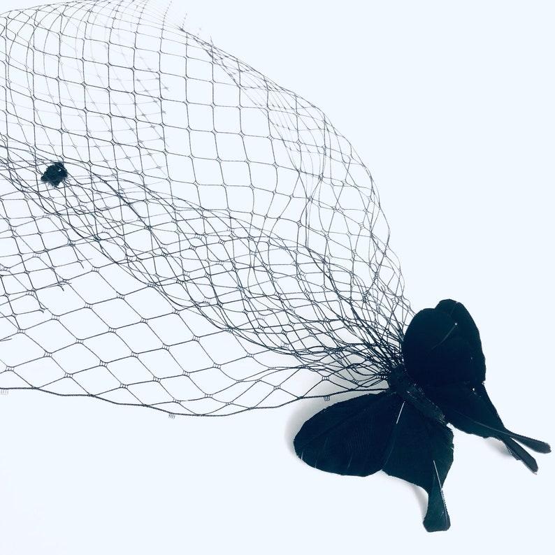 Butterfly Birdcage Veil black veil Hairpiece butterflh image 0