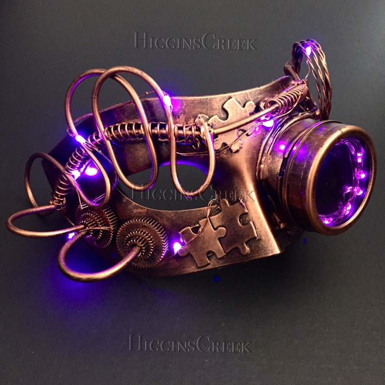 LED mask with gears Steampunk LED Mask Light-Up Cosplay Mask image 0