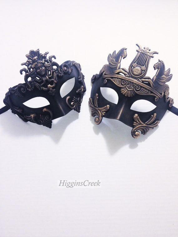 HIS /& HERS COUPLE MASQUERADE MASKS Black Colombina Warrior Men /& Women Eye Mask