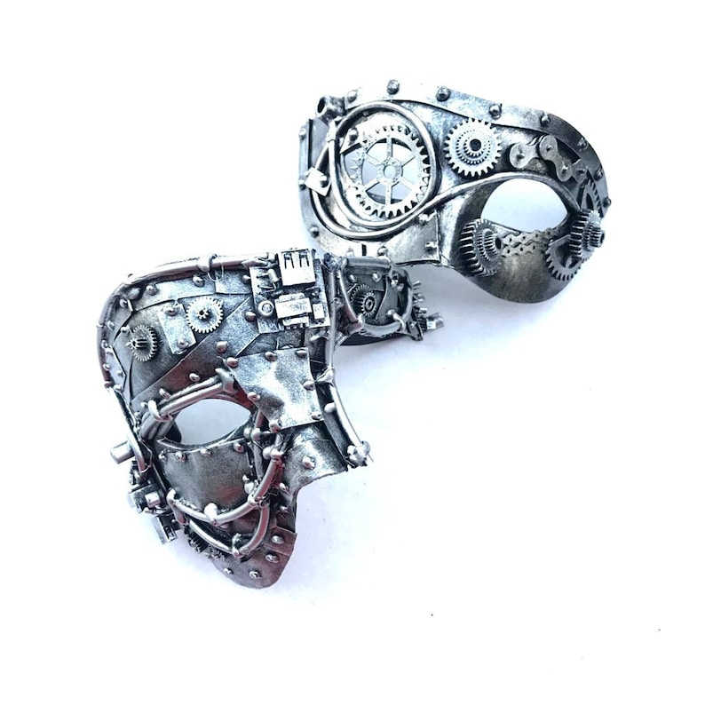 Silver Couples Steampunk Masks Metallic Silver gear mask image 0