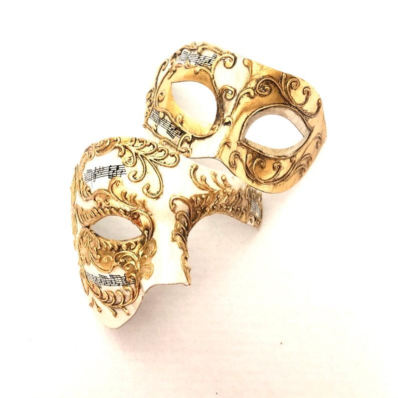 Gold Couples Theatrical Masquerade Mask Mens Phantom Half image 0