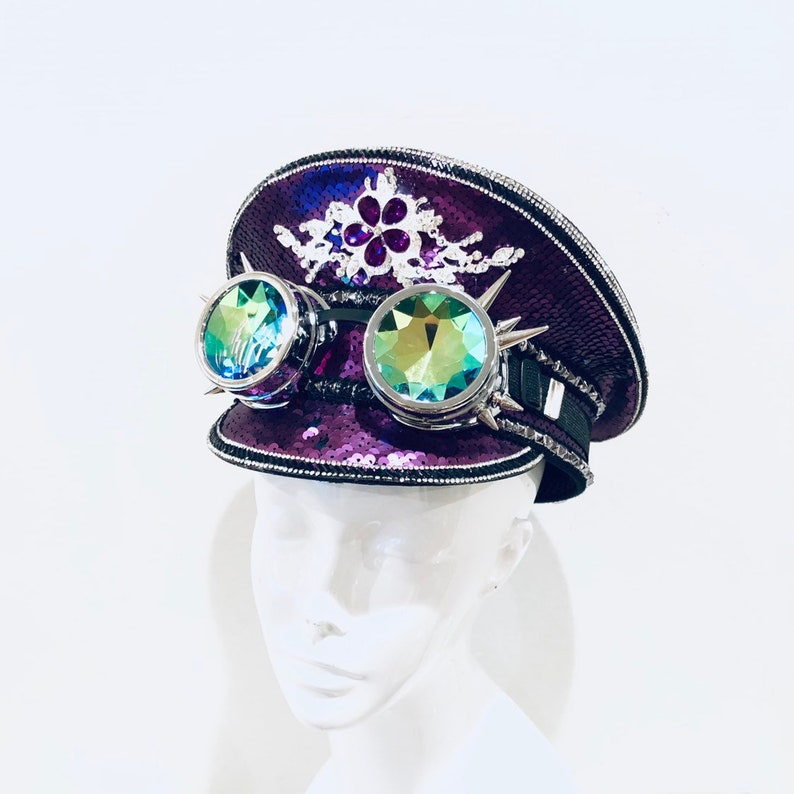 Purple Captain Hat with Sequin OPTIONAL Holographic goggles image 0
