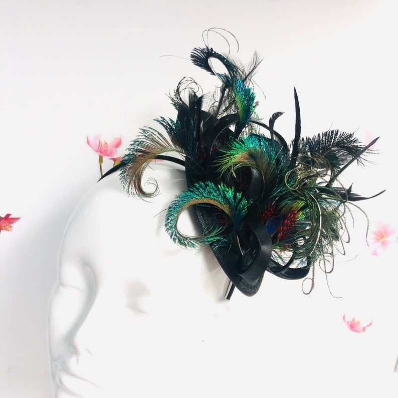 Feather fascinator hat womens peacock feather headdress image 0