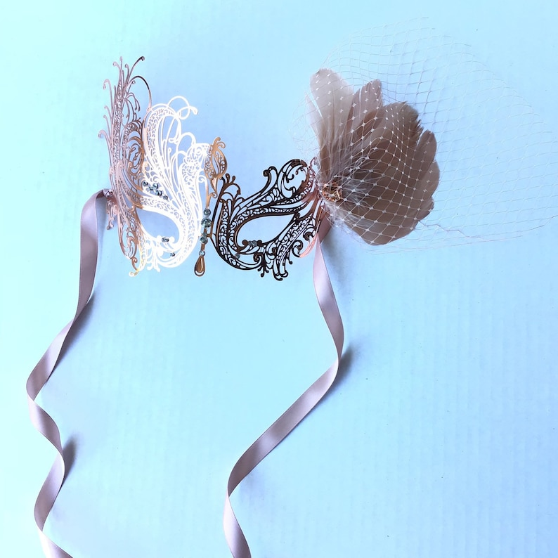 Rose gold masquerade mask women metal mask with feathers prom weddings Rose gold metal mask with clip on feathers and veil