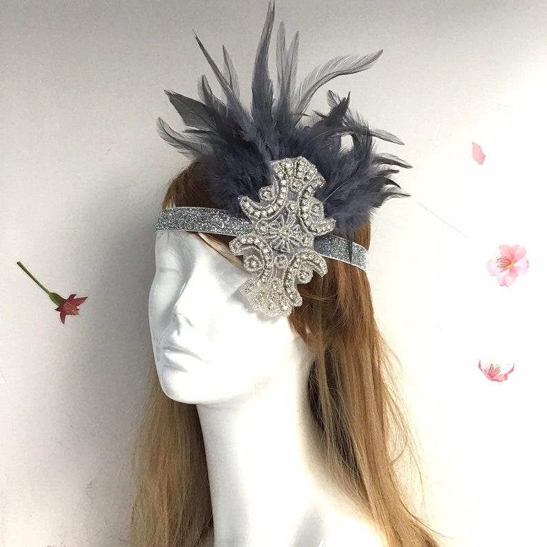 Silver Flapper Girl Headpiece  Roaring 20's Headpiece  image 0