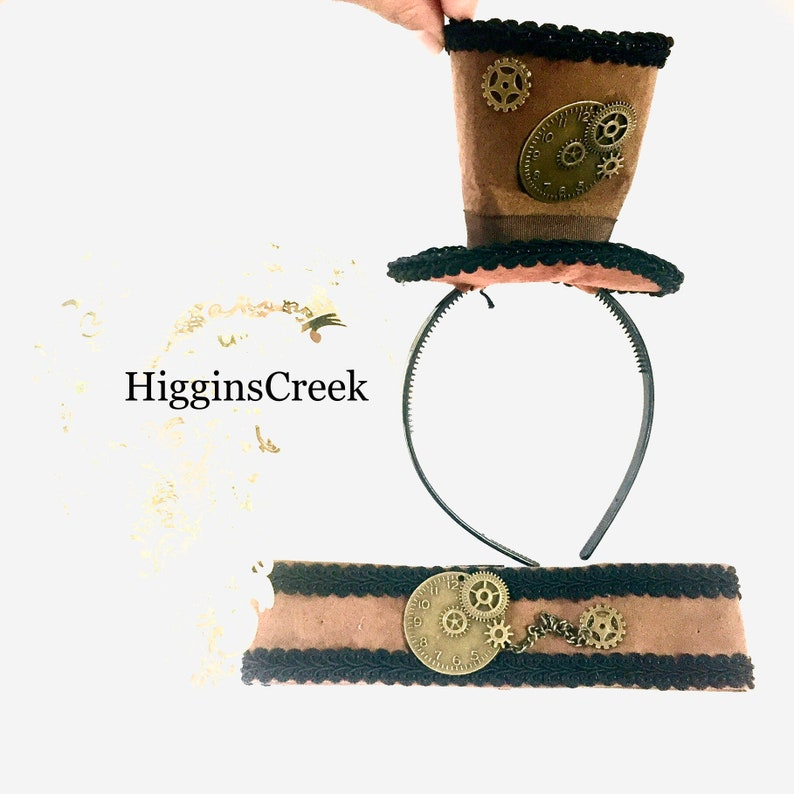 Halloween Mini Steampunk Hat woman Choker collar Brown Mini image 0