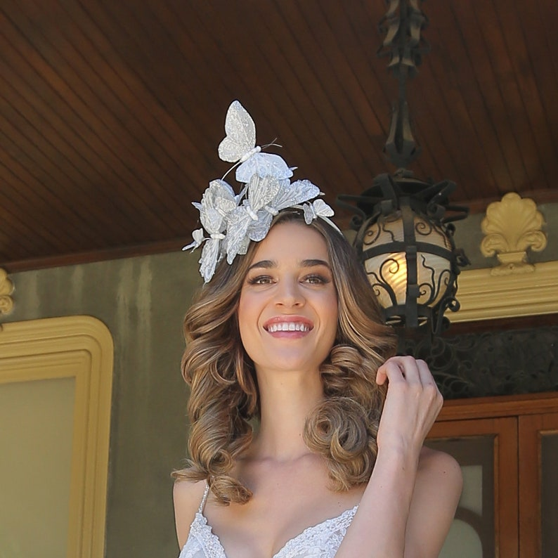 Silver white butterfly fascinator butterfly headband bridal image 0