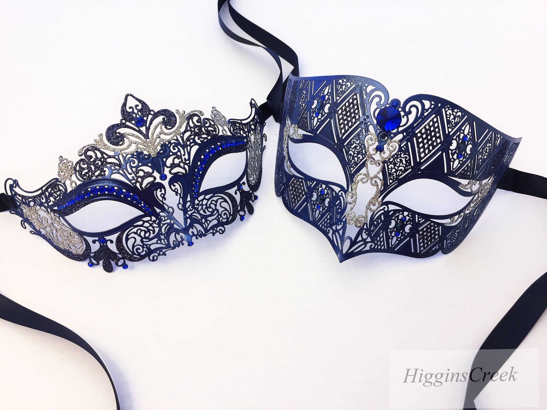bleu marine couples mascarade masque d fini noir v nitien etsy. Black Bedroom Furniture Sets. Home Design Ideas