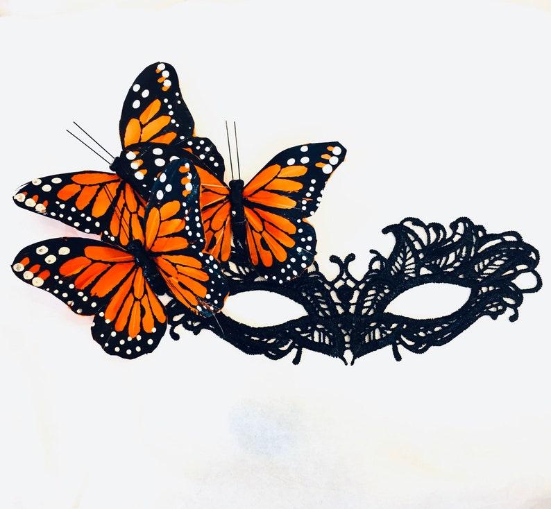 Orange monarch butterflies on a black lace mask women lace mask Women masquerade mask