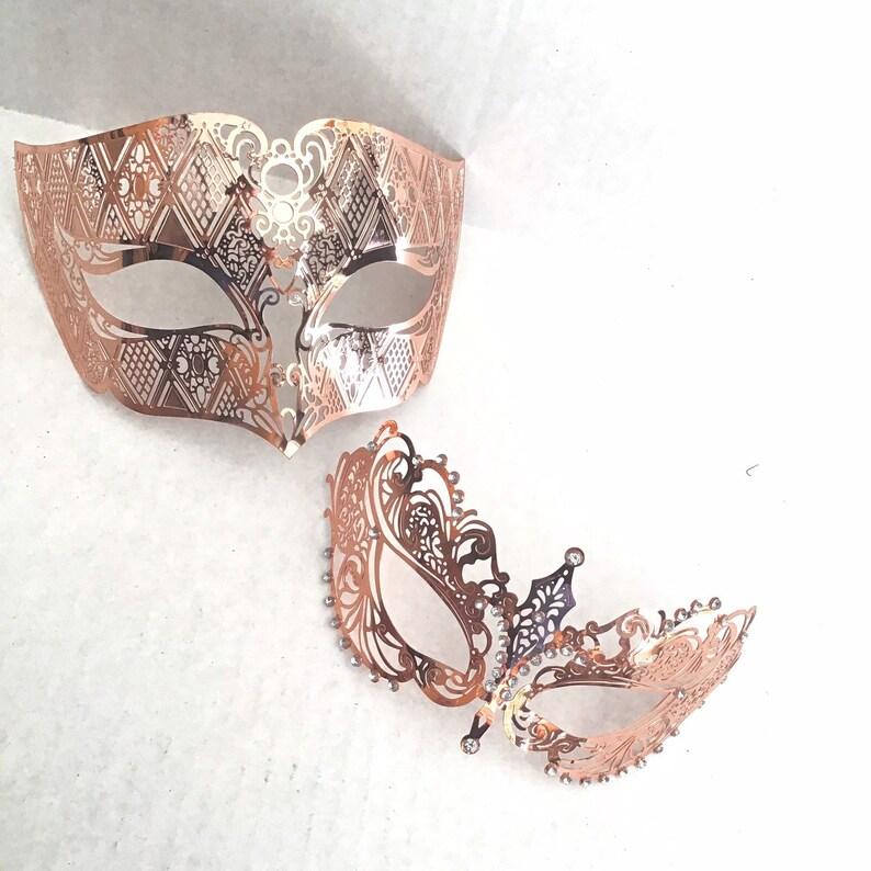 Rosegold Couples masquerade masks halloween mask pair metal image 0