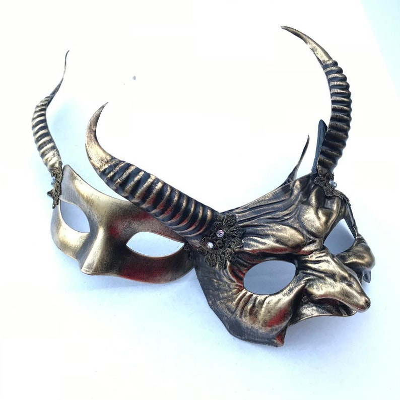 gold brass Animal masks couple masquerade masks Mythical Fawn image 0