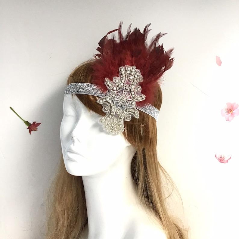 Burgundy Flapper Girl Headpiece  Roaring 20's Headpiece  image 0
