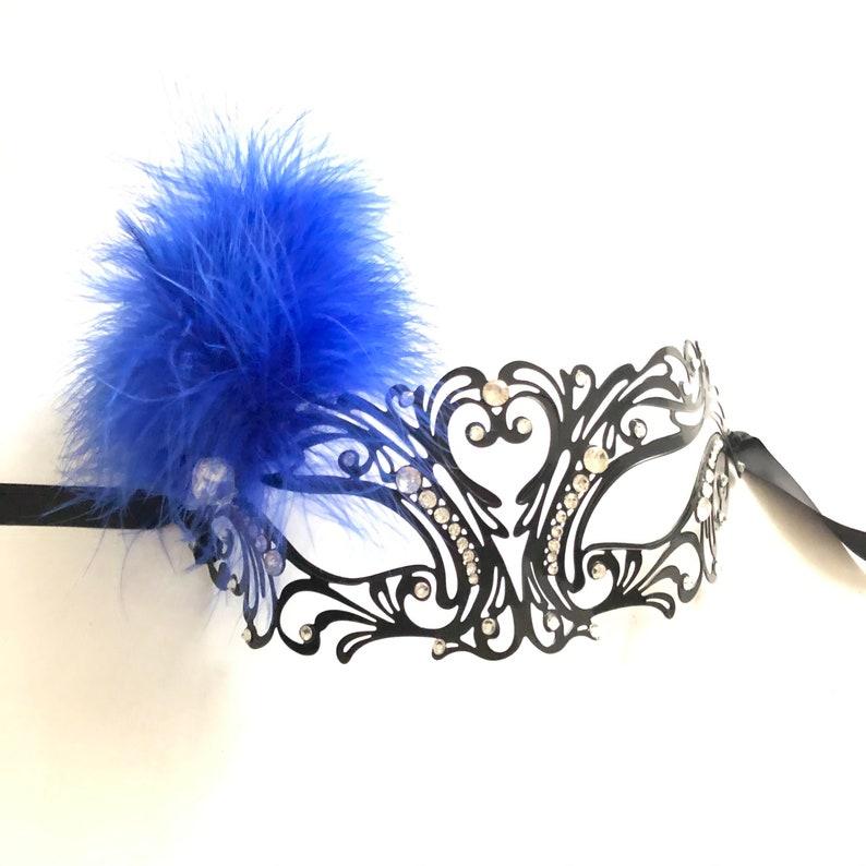 Blue Masquerade mask woman blue feather masquerade mask pink image 0