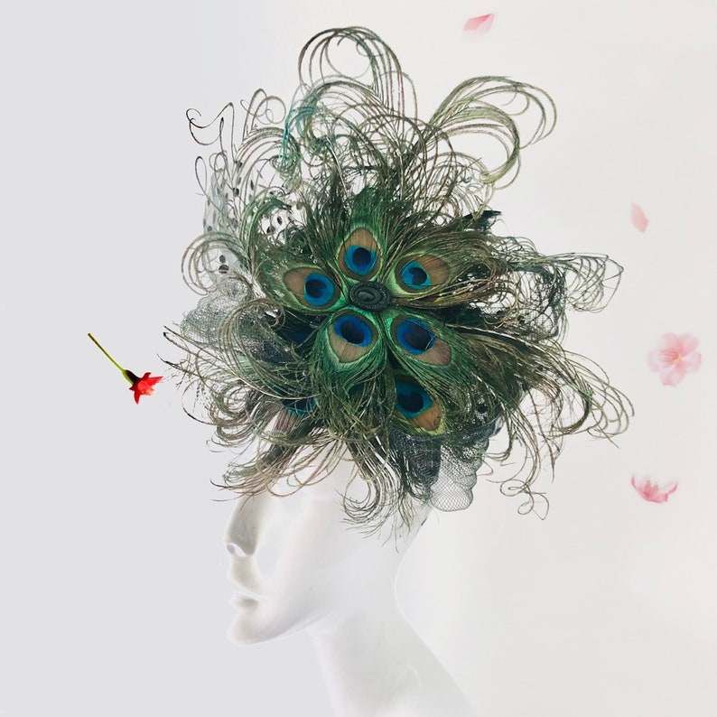 fascinator woman peacock feather headdress women hairpeice image 0