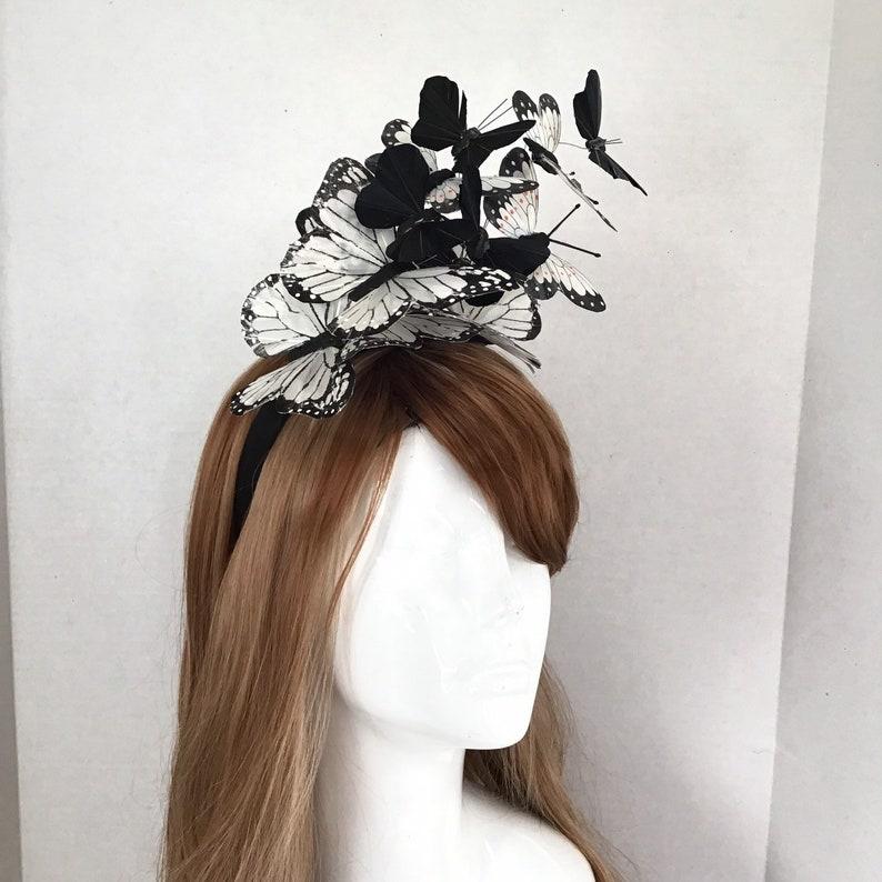 White/Black Butterfly Headdress l Fascinator Hat Butterflies l image 0