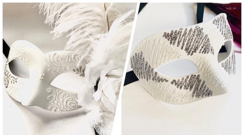 White couples Masquerade mask bride And groom masquerade ball image 0