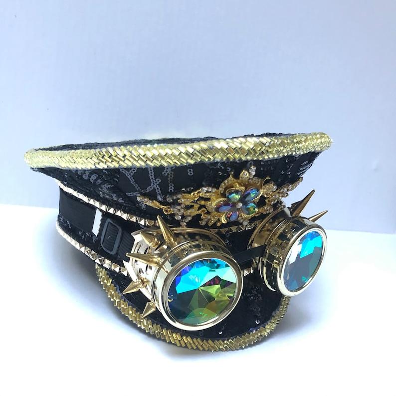 Black Gold Sequin captain hat gift idea holographic Captains image 0