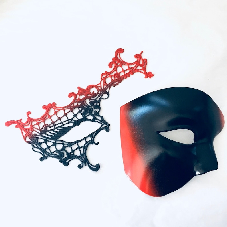 sexy couples masquerade mask pair red black theme his and image 0