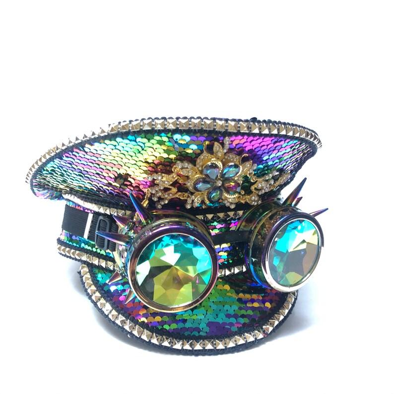Rainbow RAVE captain hat gift idea holographic Captains Hat image 0