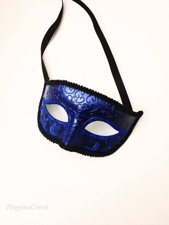 Masquerade Purple Sequin Half Face Mask on Headband with Gold Trim Carnival