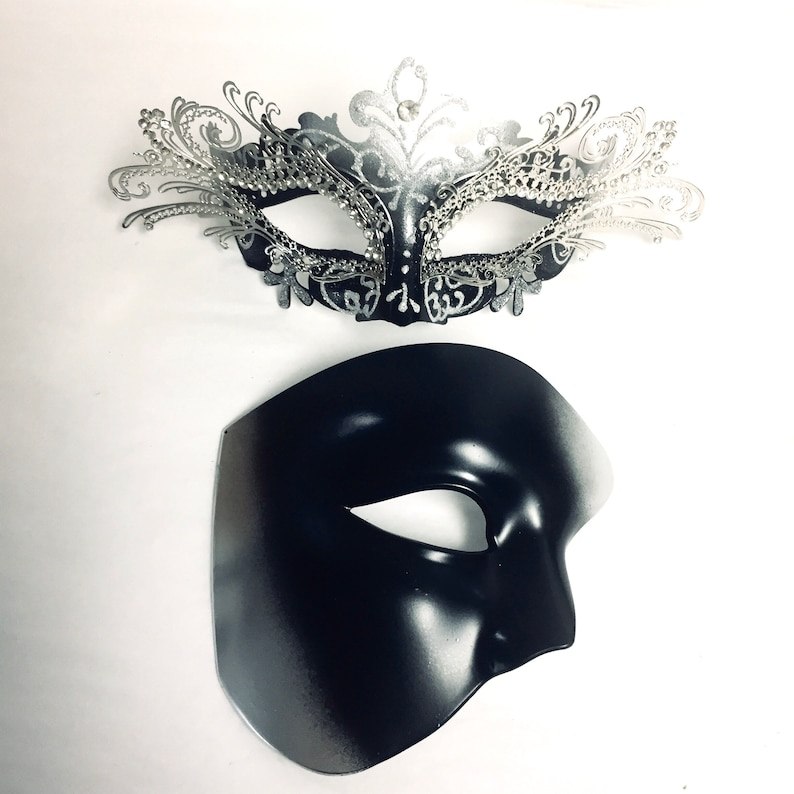 Black silver couples masquerade mask pair black silver metal image 0