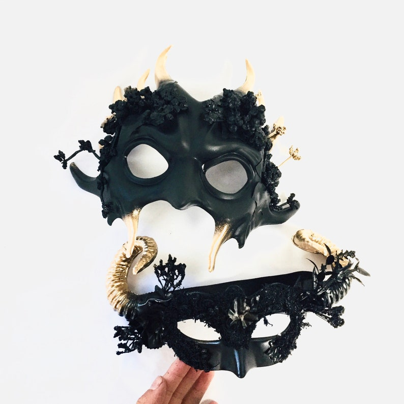 Black Gold horn creature halloween masks msquerade masks image 0
